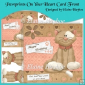 Pawprints On Your Heart Card Front with Decoupage