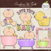 Bath Time For Baby Girl 1 ClipArt Graphic Collection