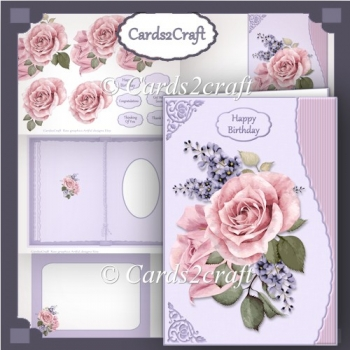 Wavy edge pink roses and lilac