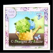 Beautiful Hydrangeas in a Watering Can Mini Kit with Decoupage