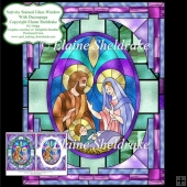 Nativity Stained Glass Window - Card Topper With Decoupage