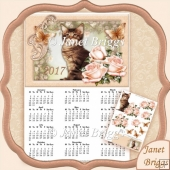 Cat and Roses 2017 A4 UK Calendar with Decoupage Kit