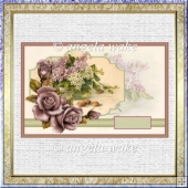Basket of lilacs and rose card with decoupage