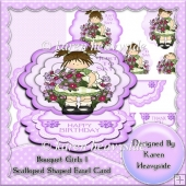 Bouquet Girls 1 Scalloped Shaped Easel Card