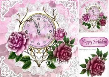 Nearly Midnight! pretty clock with pink roses