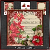 Vintage Christmas Music Poinsettia Card Kit 1040