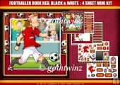 Footballer Dude Red, Black and White Stripe 4 Sheet Mini Kit