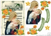 Mary holding baby Jesus on a carol sheet with yellow roses A5