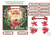 Christmas Poinsettias Watercolour Ginger Tabby Cat - 6 x 6 Card