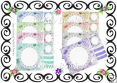 8 Lovely coloured lace card fronts with corners 8x8