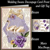 Wedding Swans Decoupage Card Front and Gift Tag