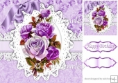 purple vintage roses on lace with bow 8x8