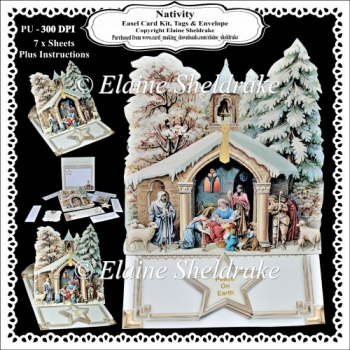 Nativity Easel Card Kit With Decoupage, Envelope, Tags, Bookmark