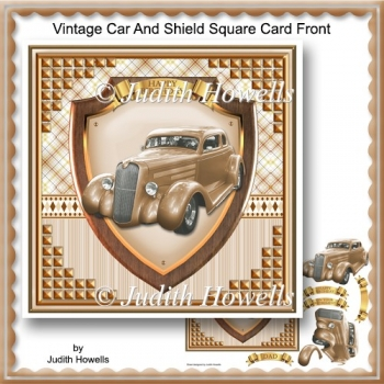Vintage Car And Shield Square Card Front