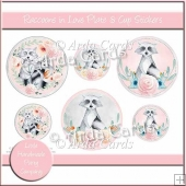 Raccoons In Love Plate & Cup Stickers