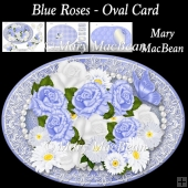 Blue Roses - Oval Card