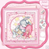 BABY GIRL SLEEPY BUNNY 8x8 Decoupage & Insert Kit