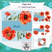 Poppy 7 Inch Card Front & Insert with Decoupage - Dad