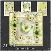 Vintage Shabby Grunge Flower green yellow 1456