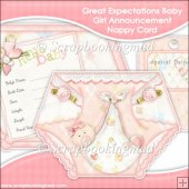 Great Expectations Baby Girl Announcement Nappy Card