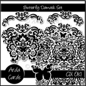 Butterfly Damask CU Graphics Set
