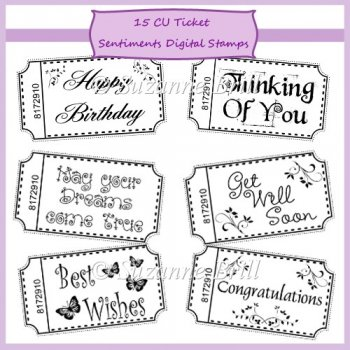 :: Digital Stamps / Line Art :: CU Ticket Sentiments Digital Stamps