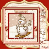 Sketchy Snowman Skiing 8x8 Christmas Decoupage Kit