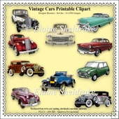 Vintage Motor Cars - Printable Digital Clipart - Set One