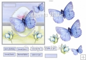 Blue butterfly 6x6 card