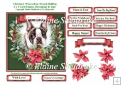 Christmas Poinsettias Watercolour French Bulldog (1) Puppy Dog -