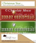 2 Large 3D DL Christmas Star Card Fronts - Red & Green