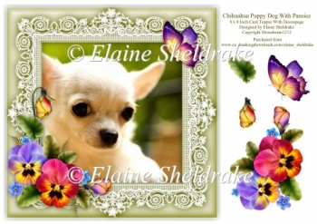 Chihuahua Puppy Dog Pansies Butterfly 8 x 8 Card Topper With Dec