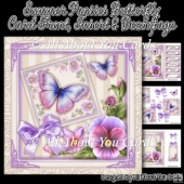 Summer Pansies Butterfly Card Front