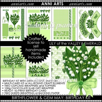 Birth Flowers and Gems May: Card and Gift printables