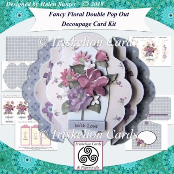Fancy Floral Double Pop Out Decoupage Card Kit with Envelope