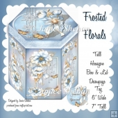 FROSTED FLORALS HEXAGON GIFT BOX AND TAG