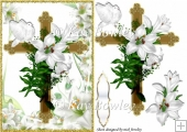 Gold cross with white lilies and dove sympathy A5