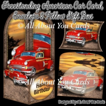 Freestanding American Car Card & Envelope & Pillow Gift Box