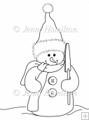 Buttons Snowman Digital Stamp/Line Art