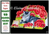 Silver Tabby Cat & Poppies - Pop Up Easel Card Kit