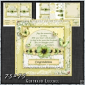 Vintage Shabby Grunge Flower Green Yellow 1455