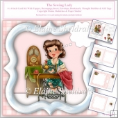 The Sewing Lady, 6 x 6 Card Kit With Envelope, Insert etc.