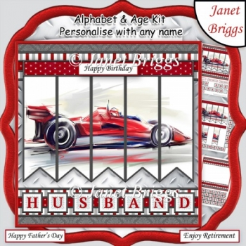 MOTOR RACING 7.5 Alphabet and Age Quick Card Kit Create Any Name