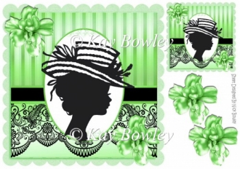 vintage silhouette lady with green flowers & black lace 8x8