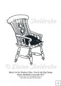 Black Cat On Windsor Chair - Digi Stamp