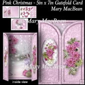 Pink Christmas - 5in x 7in Gatefold Card