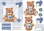 Baby boy bear birthday 6x6