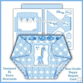 Blue Giraffe Nappy Shaped Card