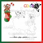christmas sock mouse and sentiment Digi stamp