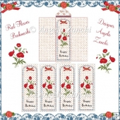 RED FLOWER BIRTHDAY BOOKMARK